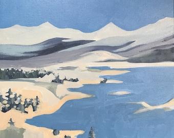 Original painting on canvas Acrylic Landscape Square original painting of Oregon 12x12 wall art