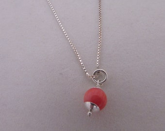 Layering Necklace, Simple Coral Beaded Charm Necklace, Silver Choker Necklace Coral Bead, Choker Necklace, Minimalist Silver Chain Jewelry