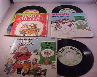 3 Children's Christmas 1970s Books With Records Disney Records Peter Pan Records
