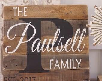 Name sign,last name sign, pallet name sign, rustic last name sign, wood name sign, rustic monogram sign, est sign, wedding pallet sign, gift