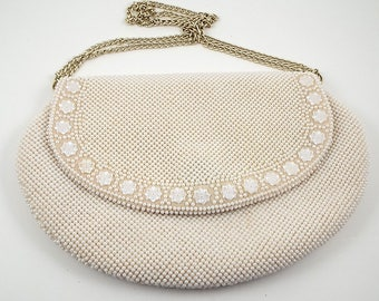 Vintage Faux Pearl Ivory Colored Purse with Metal Chain Strap - Wedding Pocketbook - Evening Handbag