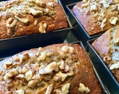 Banana Nut Bread, Homemade Fruit Loaf, Baked Goods, Made from Scratch, Banana Breads