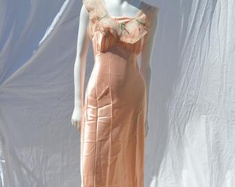 Vintage 50's nylon slip never used NOS size 34 medium 4-8 salmon pink shinny sexy lace trim by thekaliman