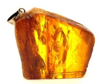 Amber Baltic Pendant Genuine 8.66 Gr Vintage Cognac Honey Color (DS994)