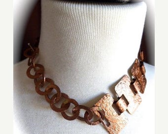 HUGE SALE Choker Style OOAK Vintage 1960's Etched Copper Flat Link and Vintage Afghan Circle Link Necklace with Silver Toggle Clasp