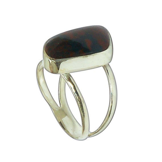 Bloodstone and Sterling Silver ring, Size 7-1/2  r75bsf2844