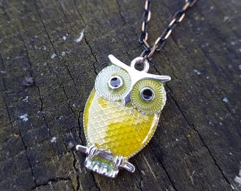 Owl Pendant Necklace with Bronze Chain
