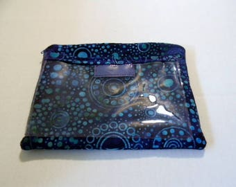 Purple Batik Zipper Pouch with Plastic Lining and Pocket for Texting