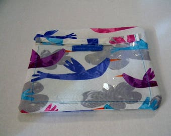 Whimsical Birds in the Clouds Zipper Pouch with Plastic Lining and Pocket