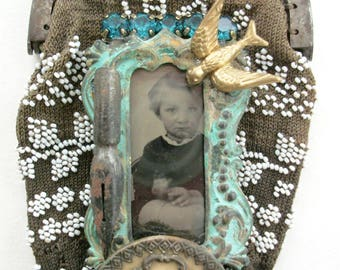 Tintype/Antique Tintype Photo/Tintype Necklace/Little Evie/'Victorian Button/Assemblage Jewelry/Statement Necklace/Beaded Coin Purse/1846