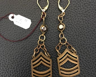 Vintage Brass Chevron Earrings