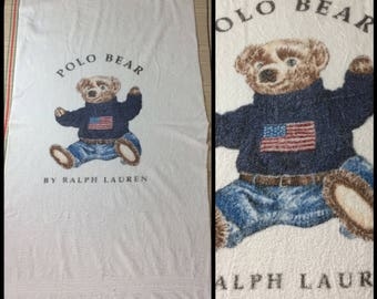 1990s Polo Bear by Ralph Lauren large cotton towel 69x34 intarsia knit American Flag sweater jeans teddy bear