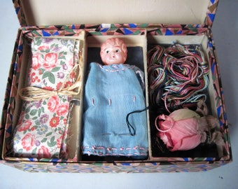 Vintage 1930s celluloid doll with Clothing to Make