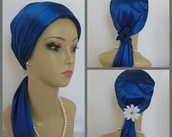 "Jersey Scarf Turban Satin Navy 14"" Ties, Volumizer Chemo Headwear, Cancer Patient Hat, Alopecia Head Cover, Tichel Mitpachat,Beach Cap"