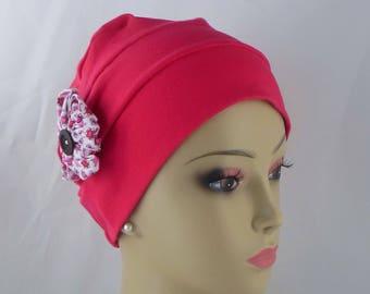 Organic Pink Fuchsia  Cotton Turban 3-Seam Hair Covering, Cancer Patient Hat, Alopecia, Tichel Mitpachat Head Wrap, Volumizer Chemo Headwear