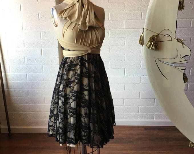 """Ready Made- 24"""" Standard Nude and Black Lace Triple Layer skirt with Nude Chiffon~ Short Full Circle Infinity Wrap Dress~ Holiday Dress"""