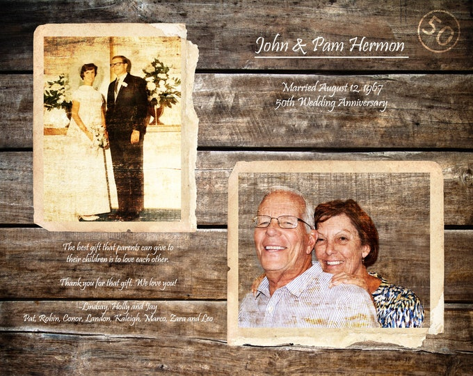 50th Anniversary Gift Parents Anniversary Gift 50 Years Of Marriage 50 Years Ago Gifts For Parents Golden Anniversary Home Decor 16x20