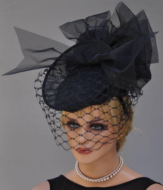 Kentucky Derby Hat, Black Headpiece Fascinator Saucer Hat,Black Hat, Black Hat with Veil, Percher Fascinator Hat, Formal Black Hat