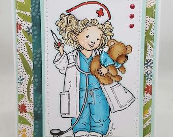 Get Well Nurse Girl Blank NoteCard, Greetings Card, Handmade Card