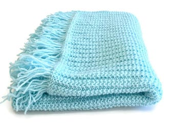 Knitted Aqua Baby Blanket Shawl