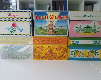 Lot of 6 Vintage Recipe Boxes