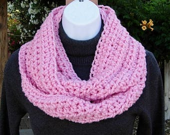 Solid Light Pink INFINITY SCARF, Color Options, Soft Lightweight Crochet Knit Winter Circle Loop Cowl, Neck Warmer..Ready to Ship in 2 Days