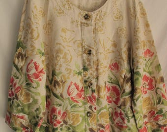 Floral Linen Blouse 100% Linen Sz 16-18 Plus Size Extra Large Button Front Top Wedding Resort Wear Summer Jacket Flower Linen Crop Blouse