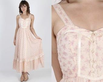Gunne Sax Dress Boho Wedding Dress Prairie Dress Vintage Dress 70s Dress Peach Dress Floral Lace Dress Hippie Long Maxi Dress XS