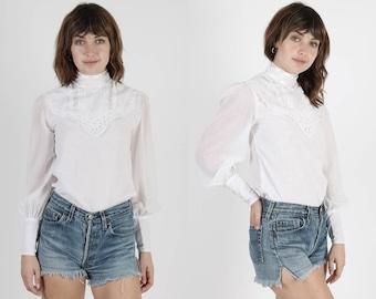 White Blouse Lace Top White Blouse Hippie Top Hippie Blouse Boho Top Vintage 70s Top Crochet Wedding Prairie Blouse