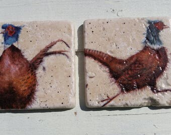 Country Pheasants Set of 2 Tea Coffee Beer Coasters
