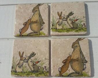 I love you bunnies Set of 4 Tea Coffee Beer Coasters