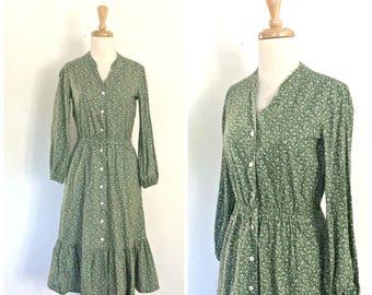 Vintage Prairie Dress - 70s dress - cotton sundress - western dress - peasant dress - green  - folk - festival - Medium