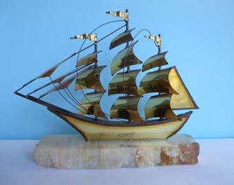 Vintage DeMott Sailing Ship Metal Sculpture - Brass Sculpture on Onyx Base - Mid Century Art