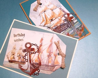 Handmade Card - Nautical Tag Shape with Anchor BIRTHDAY WISHES