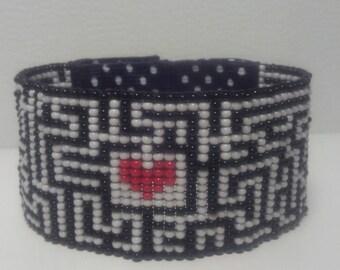 Heart Maze Beaded Bracelet