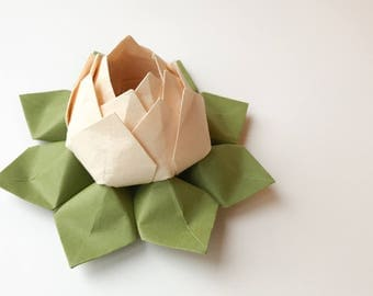 Origami Lotus Flower in Peach and Moss Green - Paper Flower, Decoration, Handmade Gift, Hostess Gift, Birthday, Get Well, Thinking of You