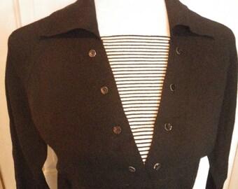1960s Jernat of Italy Black Knit Wool Dress - 3/4 Sleeves - V Neck Nautical Striped Inset