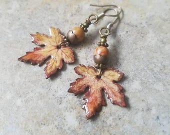 Rusty Leaves Enameled Earrings, brown maple leaves, czech glass, boho, earthy, rustic