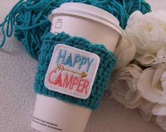 Crochet Coffee Cup Cozy ~ Happy Camper
