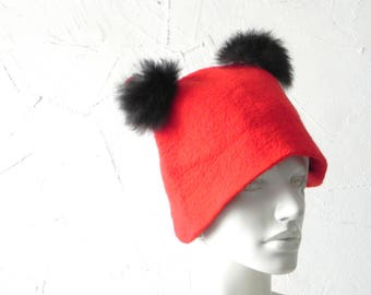 Red hat, felt hat, felted original hat, woman hat from wool, Ready to send