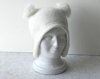 Felt hat with ears felted white merino wool coat ears original warm woman winter accessory ready to send
