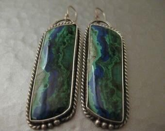 Azurite Malachite Sterling Silver Earrings Southwestern Dangle Drop Strawberryfrog