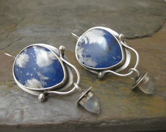 Lapis Plume Agate and Rainbow Moonstone Bullet Sterling Silver Earrings