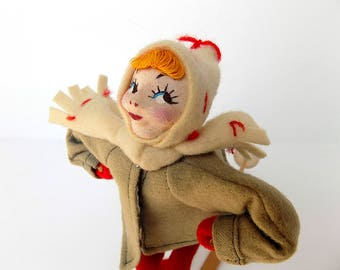 Amazing Vintage Napco Girl on Skis/ 1950's / Wool Clothes / Lenci like painted Face / All Original / Excellent!