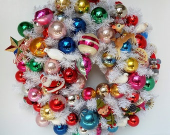 Fun and Colorful Christmas Wreath / Vintage Glass Ornaments / Vintage Decorations