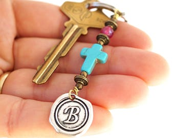 Red Ruby Blue Turquoise Cross Keychain Favors Cross Key Chain Initial Monogram Keychain for Women Custom Keychain Personalized Gift for men