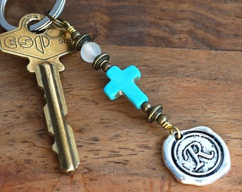 Frosted Quartz Blue Turquoise Cross Keychain Favor Cross Key Chain Initial Monogram Keychain Custom Keychain Personalized Gift for Mom Dad