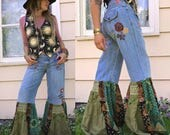 Flare Bell Hippy Jeans, Size 8 ,patchwork jeans,boho jeans, bell bottom jeans, festival clothing, denim bell bottoms, green bells Zasra