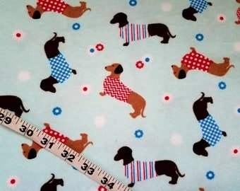 Flannel fabric with dogs dachshund sweater flower cotton print quilt sewing material quilter crafts flannel dachshund fabric BTY by the yard