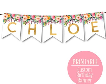 Custom Happy Birthday Banner,  1st Birthday Banner, Floral Birthday Bunting, Birthday decor DIY Banner, 1502